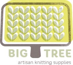 Student project logo for an artisan yarn and knitting shop.