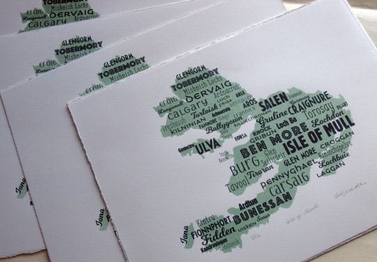 Isle of Mull map screenprints